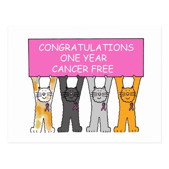 Congratulations one year cancer free anniversary. postcard
