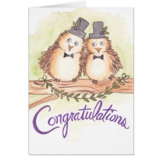 Congratulations Owls for Gay Wedding Card