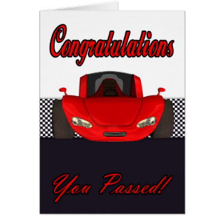 Congratulations passed driving test card