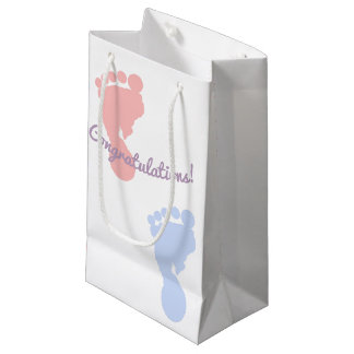 Congratulations Pink and Blue Footprints Pattern Small Gift Bag