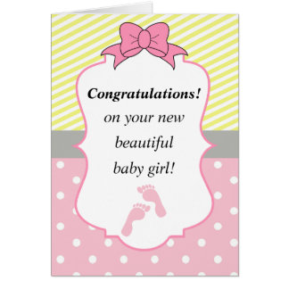 Congratulations Pink and Yellow New Baby Girl Card