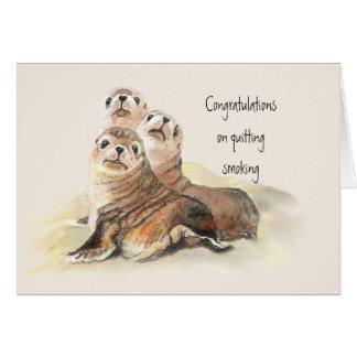 Congratulations Quitting Smoking Humor Cute Seals Greeting Card