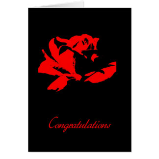 Congratulations - Red flower Greeting Card