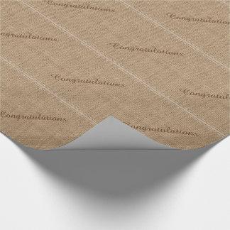 Congratulations, Rustic Burlap Wrapping Paper