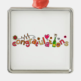Congratulations Special Occasion Doodle Text Silver-Colored Square Decoration
