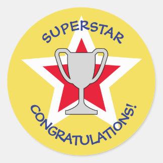 Congratulations star trophy yellow classic round sticker