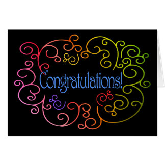 Congratulations/Success - Rainbow Swirls on Black Card