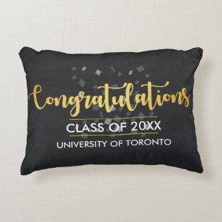 Congratulations text confetti scripted Graduation Decorative Cushion