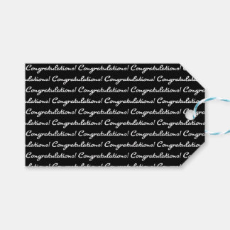Congratulations! Tiled White Casual Script Gift Tags