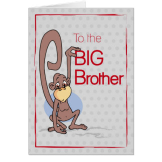 Congratulations to the Big Brother, Cute Monkey Card