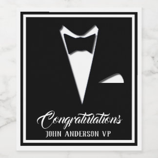 Congratulations Tuxedo (Or Your Text) Wine Label
