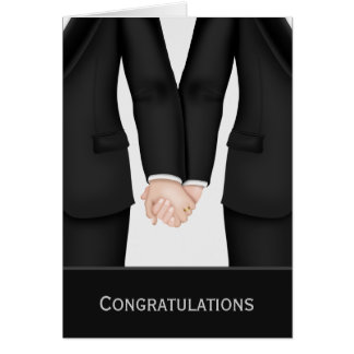 Congratulations Two Grooms In Suits Wedding Card