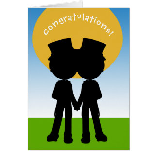 Congratulations Two Grooms In Top Hats Gay Wedding Card