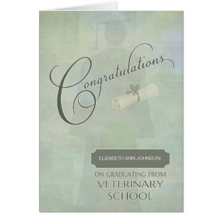 Congratulations Veterinary School Graduate w-Name Card