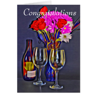 Congratulations Wine and Flowers Greeting Card