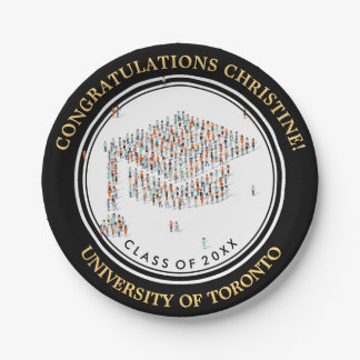 Congratulations with little people Graduation cap 7 Inch Paper Plate