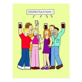 Congratulations ! Young people partying. Postcard