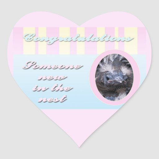 Congratutions on you new baby girl or boy heart sticker