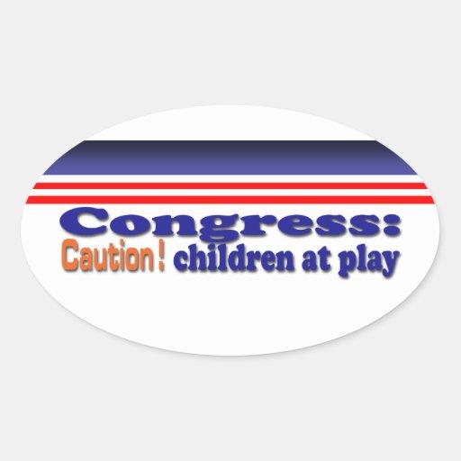 Congress children at play oval sticker