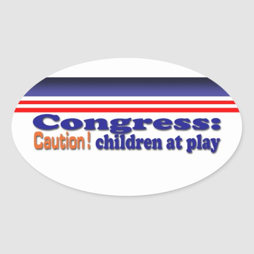 Congress children at play oval stickers