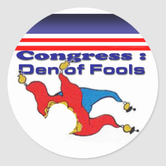 Congress den of fools round sticker