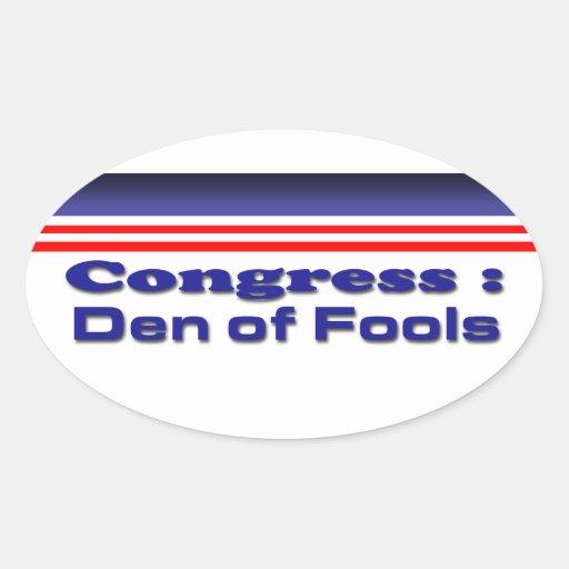 Congress den of fools stickers