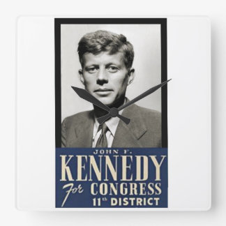Congressman John F. Kennedy circa 1946 Square Wall Clock