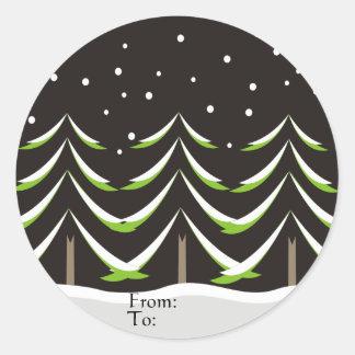 Conifers in Winter Classic Round Sticker