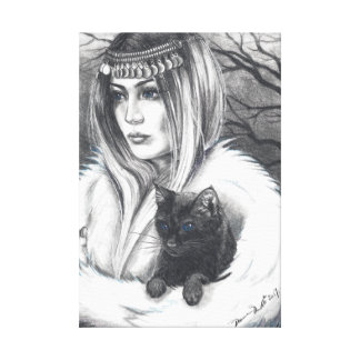 Conjuring Companions Witch Art Cat Art Canvas Print