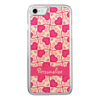 Connected Hearts Hot Pink on White Valentine's Day Carved iPhone 7 Case
