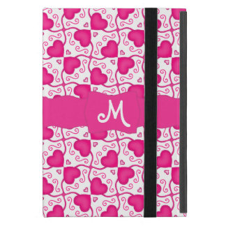 Connected Hearts Hot Pink on White Valentine's Day iPad Mini Cases