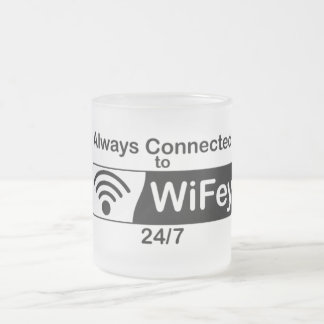 Connected to WiFey Frosted Glass Coffee Mug
