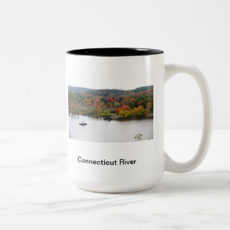 Connecticu River in the fall Two-Tone Mug