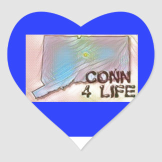 """Connecticut 4 Life"" State Map Pride Design Heart Sticker"