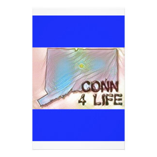 """Connecticut 4 Life"" State Map Pride Design Stationery"