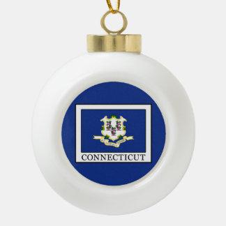 Connecticut Ceramic Ball Christmas Ornament