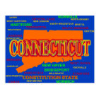 Connecticut Cities and Towns State Pride Map Postcard