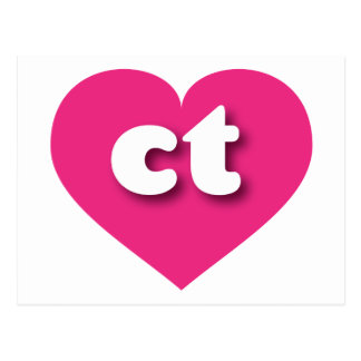 Connecticut ct hot pink heart post cards