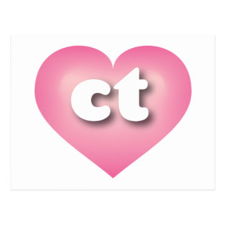 Connecticut ct pink fade heart postcards