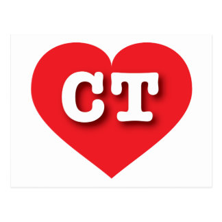 Connecticut CT red heart Postcard