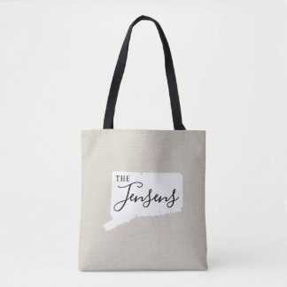 Connecticut Family Monogram State Tote Bag