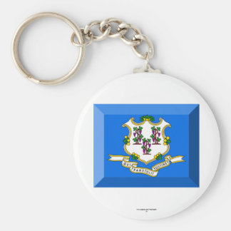 Connecticut Flag Gem Basic Round Button Key Ring