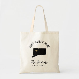 Connecticut Home Sweet Home Family Monogram Tote Bag