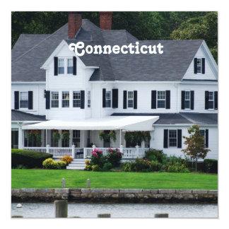 """Connecticut 5.25"""" Square Invitation Card"""