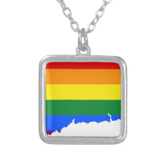Connecticut LGBT Flag Map Silver Plated Necklace