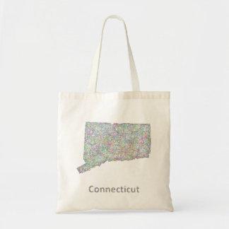 Connecticut map tote bag