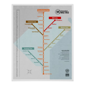 Connecticut Metro Map Poster