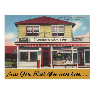 Connecticut, O'Connor's Soda Shop, Sound View Postcard