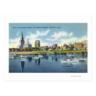 Connecticut River View of the Hartfort Skyline Postcard