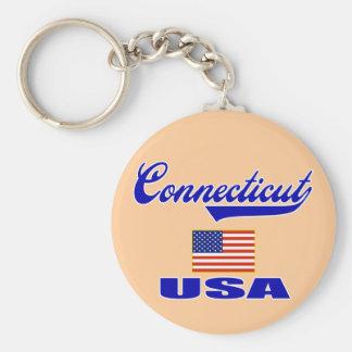 Connecticut Script Key Ring